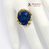 Carved Lapis Lazuli Flower Cocktail Ring Diamond Accent 14K Yellow Gold