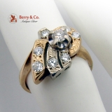 Intricate Diamond Wreath Ring 14K Yellow Gold