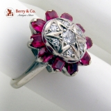 Edwardian Diamond Ring Synthetic Ruby Halo 14K White Gold 1910