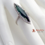 Long Pointed Tourmaline Cocktail Ring Diamond Halo 18K White Gold