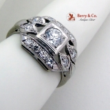 Vintage Ornate Diamond Ring 18K White Gold