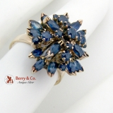 Dark Blue Natural Sapphire Princess Ring 14K Yellow Gold