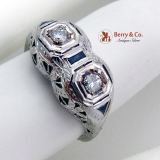 Art Deco Openwork Diamond Ring Sapphire Accents White Gold