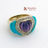 Large Amethyst Heart Ring Diamond Halo Turquoise 14K Yellow Gold
