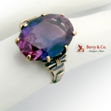Antique Oval Amethyst Ring 14K Gold 1890