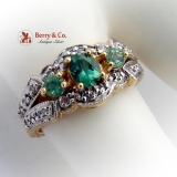 Ornate Green Tourmaline Ring Diamonds Floral Accents 14K Yellow Gold