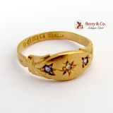 Antique Victorian Ring Sapphires Diamond Accent Yellow Gold