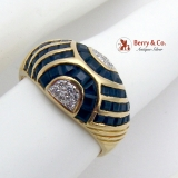 Dark Blue Sapphire Channel Set Dome Ring Diamond Accents 18K Gold
