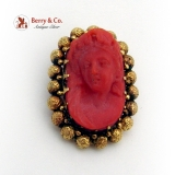 Antique Carved Coral Brooch Bead Decorations 14K Gold 1870