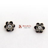 Ornate Floral Full Cut Diamond Stud Earrings 14K Gold