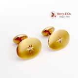 Art Nouveau Oval Cufflinks Diamond Star Accents 14K Yellow Gold 1900