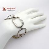 Designer Georg Jensen Wide Oblong Link Bracelet Sterling Silver Denmark