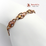 Openwork Foliate Beaded Link Bracelet Multi Colored 10K Gold