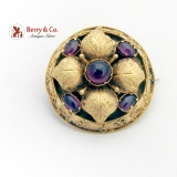 Antique Ornate Brooch Amethyst Cabochons 14K Yellow Gold 1870