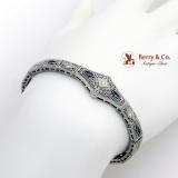 Art Deco Filigree Bracelet Synthetic Sapphires Diamonds 14K White Gold Platinum