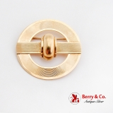 Retro Round 14K Yellow Gold Brooch Milled Surface