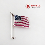 Multistone Figural USA Waving Flag Brooch 14K White Gold