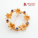 Ivy Vine Round Brooch Sapphire Decorations 14K Yellow Gold