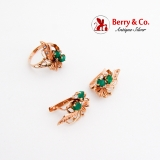 Exquisite Floral Motif Ring Earrings Set Emeralds Diamonds 14K Rose Gold