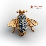 Figural Bug Insect Pin Single Cut Diamonds 14K Yellow Gold