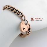 Vintage Bold Link Chain Bracelet Heart Shaped Lock 15 Ct Gold