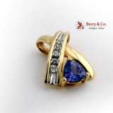 Splendid Tanzanite Pendant Diamond Accents 14K Yellow Gold