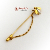 River Pearl Insect Fly Figural Stick Pin Safety Chain Yellow Gold