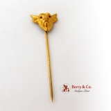 Figural Bull Head Stick Pin Garnet Eyes 10K Yellow Gold