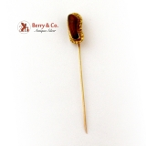 Art Nouveau Sand Agate Stick Pin 20K Gold Nuggets 14K Yellow Gold 1900