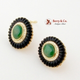 Oval Green Jadeite Jade Earrings Diamond Halo Carved Onyx Rim 14K Gold