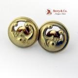 Designer Kieselstein Cord Man In The Moon Crescent Earrings 18K Gold