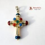 Large Dazzling Cross Pendant Chalcedony Carnelian Enamel 14K Gold