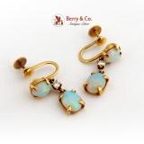 White Opal Dangle Earrings Diamond Accents Screw Backs 14K Gold