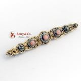 Art Nouveau Long Filigree Brooch Pink Coral Seed Pearls 14K Gold