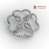 Openwork Four Leaf Clover Heart Motif Diamond Brooch 18K White Gold