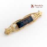 Victorian Long Openwork Brooch Agate Inset 14K Yellow Gold 1890