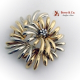 Stylized Aster Flower Brooch Diamond Accents 18K White Yellow Gold