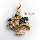 Flower Basket Pendant Diamonds Sapphire Accents 18K Yellow Gold
