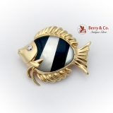 Fish Form Brooch Pendant Onyx Mother Of Pearl Inlay Diamond Eye 14K Gold
