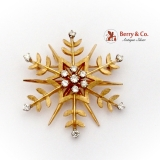 Modernist Custom Made Snowflake Brooch Pendant Diamonds 14K Gold