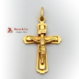 Applied Border Crucifix Pendant 14K Yellow Gold 1960 Italy