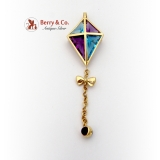 Custom Made Kite Brooch Pendant Topaz Amethyst Insets 14K Gold