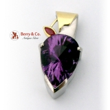 Teardrop Fantasy Cut Amethyst Pendant Ruby Accent 18K Gold Sterling Silver