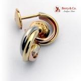 Trinity De Cartier Hoop Earrings 18K Yellow White Rose Gold