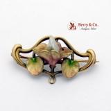 Art Nouveau Floral Brooch Pin Baroque Pearl Enamel 14K Yellow Gold
