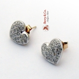 Diamond Heart Earrings Post Backs 14K Yellow Gold
