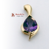 Teardrop Fantasy Cut Amethyst Cabochon Pendant 14K Yellow Gold