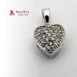 Heart Shaped Pendant Full Cut Diamonds 14K White Gold