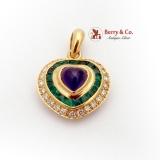 Heart Cabochon Sapphire Emerald Diamond Pendant 18K Yellow Gold