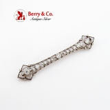 Edwardian Openwork Diamond Bar Brooch 14K White Gold
